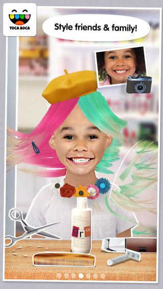 Toca Hair Salon Me ($2.99) lets you be the customer and the stylist! Curly, straight or purple? Create a funky hairdo any way you like. Grow it long or cut it short, shave one side or spray paint it every color of the rainbow.  Add accessories. Don't forget to take a photo and share with friends. Now you can use your own photos as backdrops to complete your style transformation.