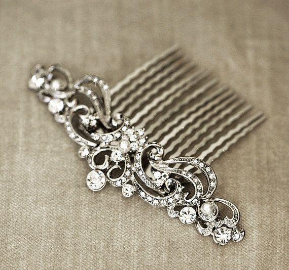 Art Nouveau Bridal Haar Kamm  Headpiece Hochzeit von lolaandmadison