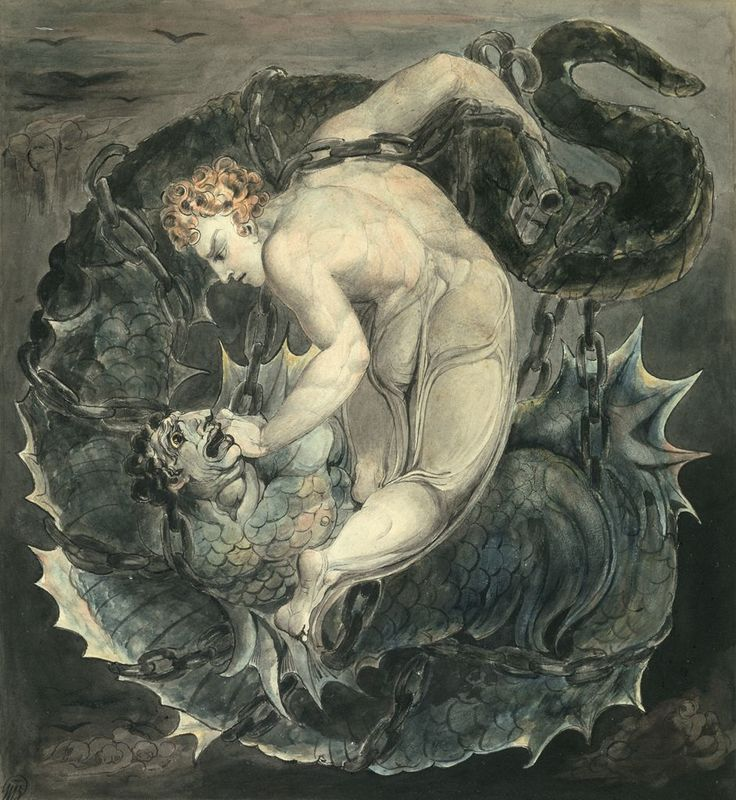 William Blake - L'Arcangelo Michele Incatena Satana