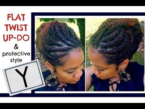 Naturally Michy | Y: | Protective Style and Flat Twist Updo on Natural Hair - YouTube
