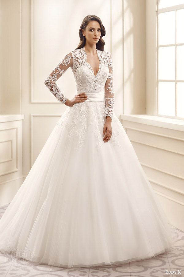 eddy k bridal 2016 illusion long sleeves sweetheart ball gown wedding dress (ek1072) mv traditional romantic