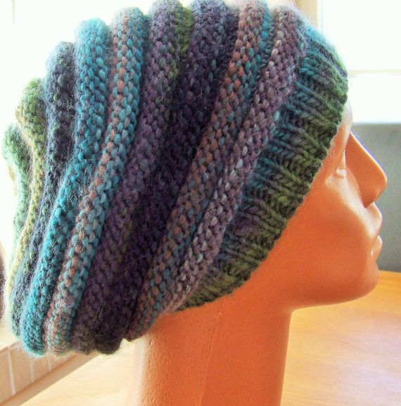 Ladies hand knitted slouch beanie hat in multi coloured stripes  Baggy slouch style hat - big enough to get all your hair into (great for bad hair