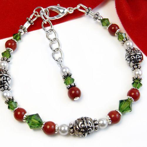 Festive Red Green Bracelet White Pearls Christmas Jewelry Adjustable | PrettyGonzo - Jewelry on ArtFire