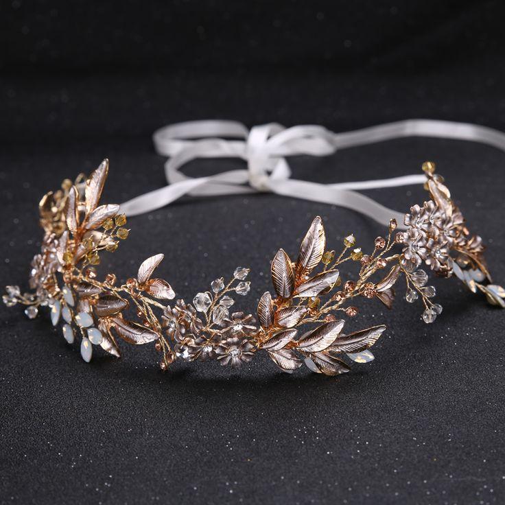 US $9.29  Champagne lichtmetalen Crystal Bead Bloem Bruid Hoofdbanden Haar Kam Prinses Bruiloft Haarband Bridal Haarbanden Haaraccessoires Crown