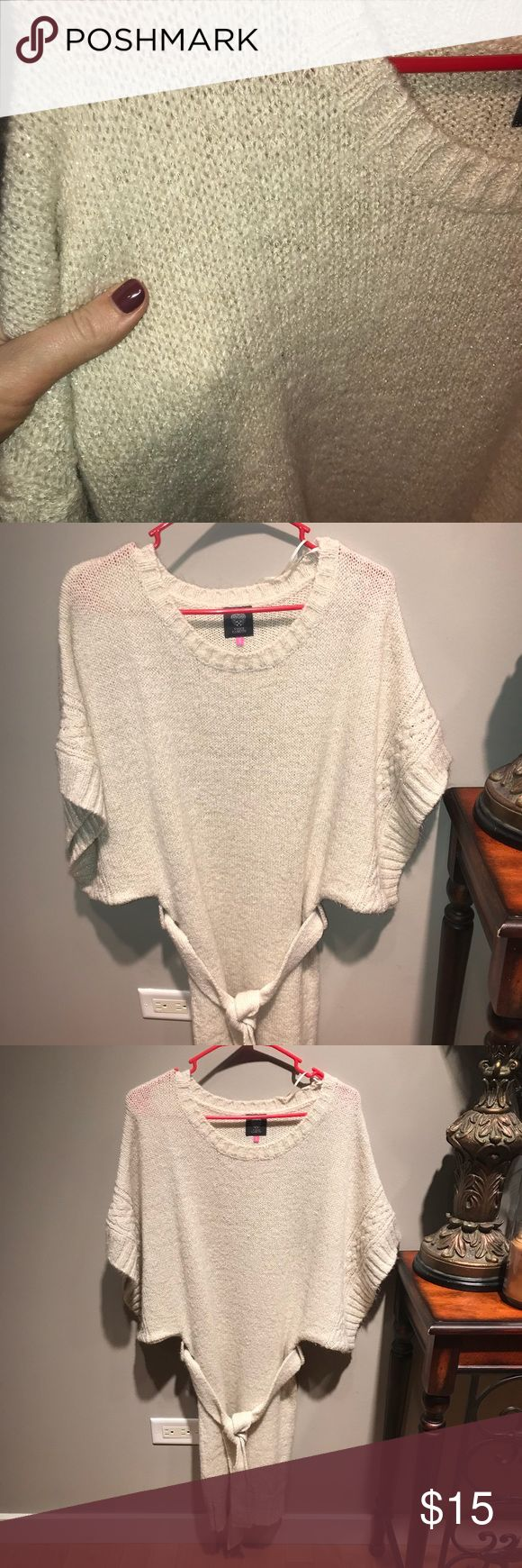 Vince Camuto Dolman Sleeve Sweater Dress Vince Camuto Dolman Sleeve Sweater Dress - only worn once/like new condition  -size small -nude/beige with subtle gold accents - belted  -Perfect with leggings and boots! Vince Camuto Dresses