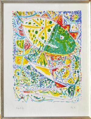 Egill Jacobsen. Farvelitografi. Maskekomposition. 68x52 cm, indrammet. Prøvetryk. Vurdering: 1500.   Lauritz.com