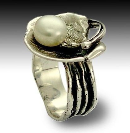 Sterling silver ring organic silver ring statement door artisanlook, $98.00 / €73,93.