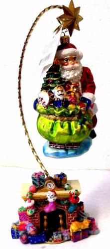 Christopher-Radko-Ornament-DELUXE-DELIVERY-SANTA-CLAUS-ORNAMENT-STAND