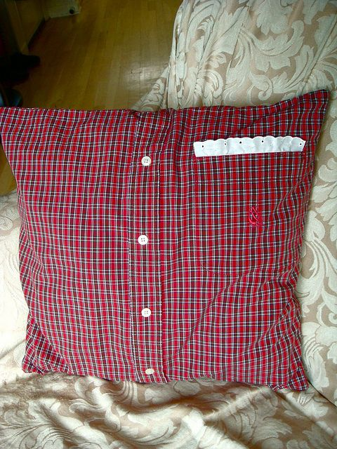 Upcycled Men's Shirt Pillow..could use grandpas shirts Great idea for clothing of those that have left us...a way to keep something that was a part of them that is not jut sitting in a closet or on a shelf! Love it