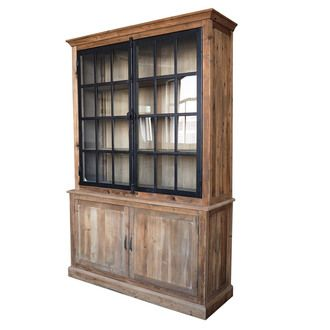 Vaisselier en bois avec 2 vitrines et 2 portes hauteur 220cm DYNASTIE