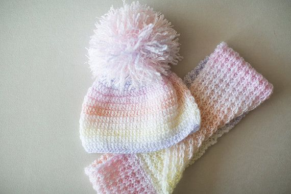 Knitted Baby Scarf and Hat Set, Crochet Baby Set, Pom Pom Hat