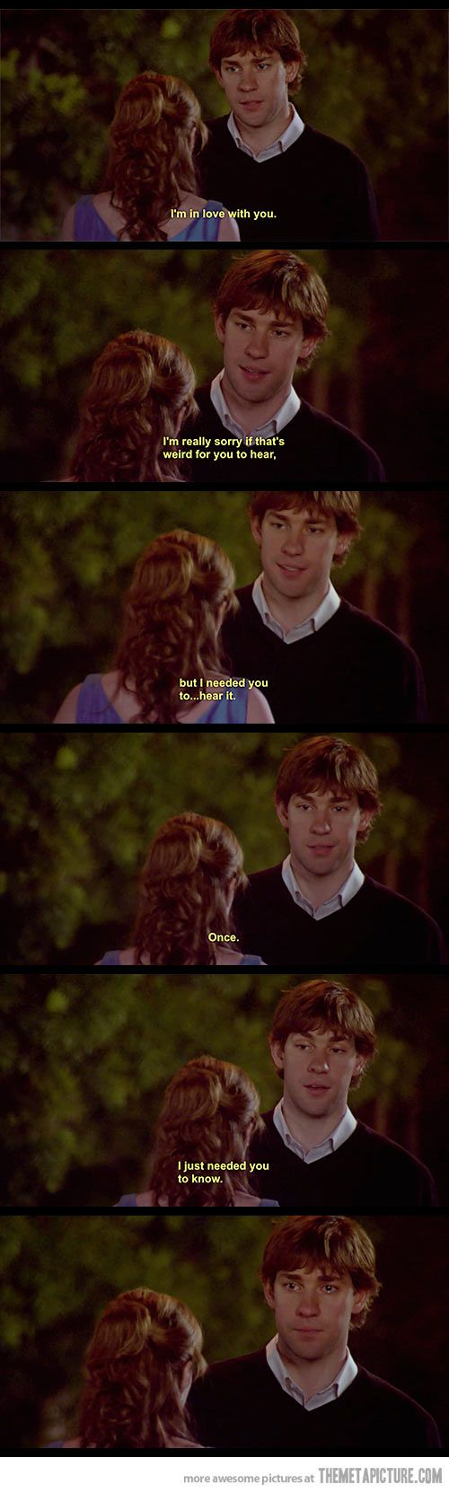This scene is a punch in the feels…  Jim FINALLY says what we've all been waiting for...  then Pam breaks all of our hearts!  :(  But we still love her (so does Jim)  She didn't mean to do it...