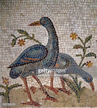Stock Photo : Mosaic of water birds uncovered in Trier, Germany. Roman Civilization, 4th century.