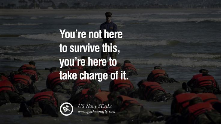 You're not here to SURVIVE this, you're here to TAKE CHARGE of it. – US Navy SEALs 18 Inspirational Motivational Poster Quotes for Salespeople