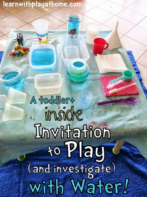 Learn with Play at home: Toddler Inside Water Play Activity. An invitation to play and investigate with water with ways to simplify and extend to suit your child.