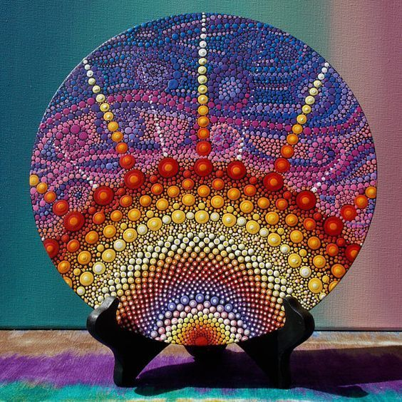 Punto de Sunburst punto Mandala pintura sobre madera Arte