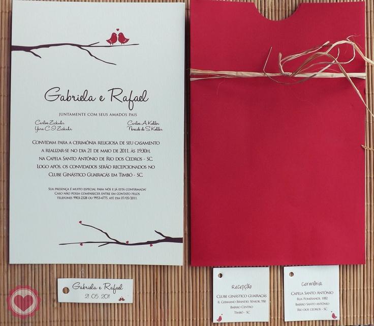 Convite de casamento - Envelope - Tag com endereço - Tag para lembrancinha.