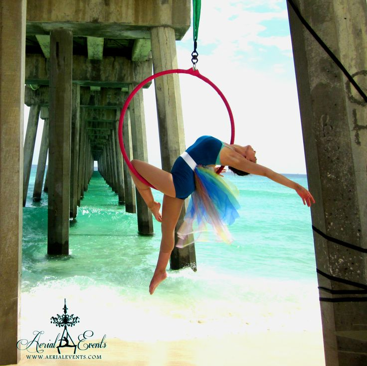 www.aerialevents.com ~Aerial Performances and Event Entertainment~ aerial lyra hoop on the beach