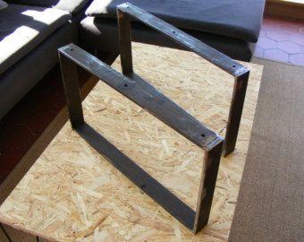 Pieds de table basse en fer plat hauteur 30 ou 35 cms table cave manger - Fabriquer des pieds de table ...