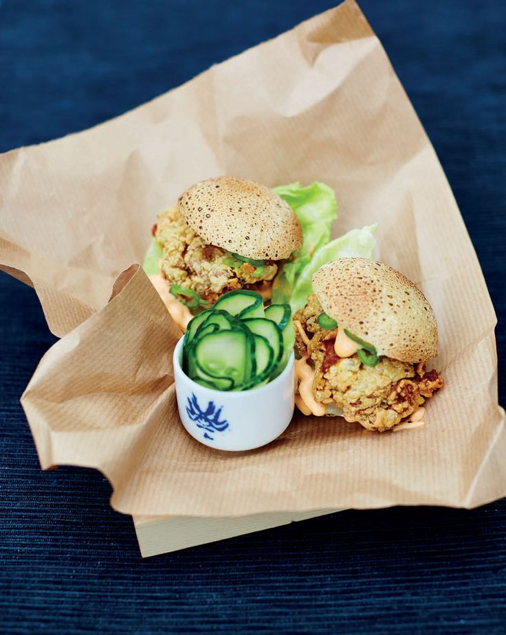 Crunchy chicken kara-age buns with spicy mayo and cucumber pickle recipe from Junk Food Japan by Scott Hallsworth   Cooked
