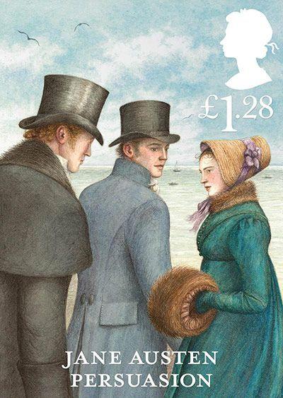 """Selo comemorativo dos 200 anos de """"Orgulho e preconceito"""" de Jane Austen. São 6 modelos, um para cada romance da escritora. Este é o de """"Persuasão""""."""