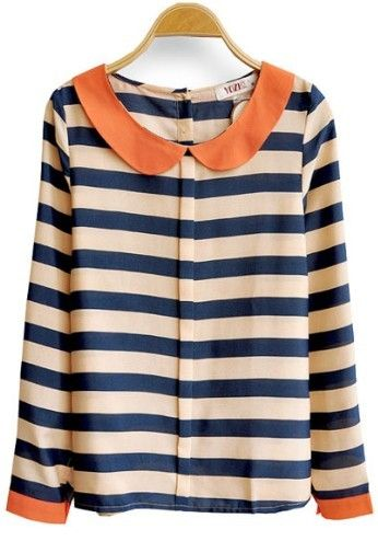Blue Apricot Striped Long Sleeve Lapel Blouse