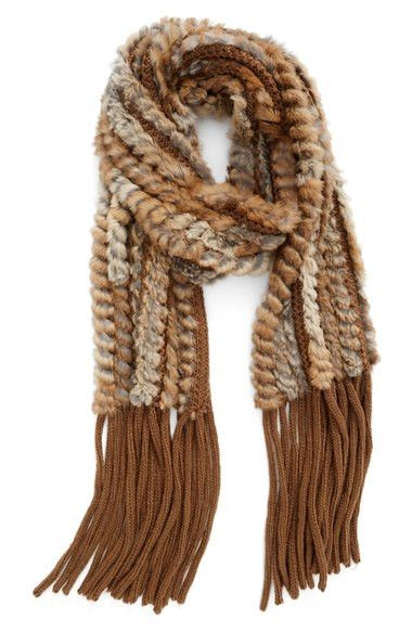 Knitted Rabbit Fur Scarf w/ Fringe - Brown