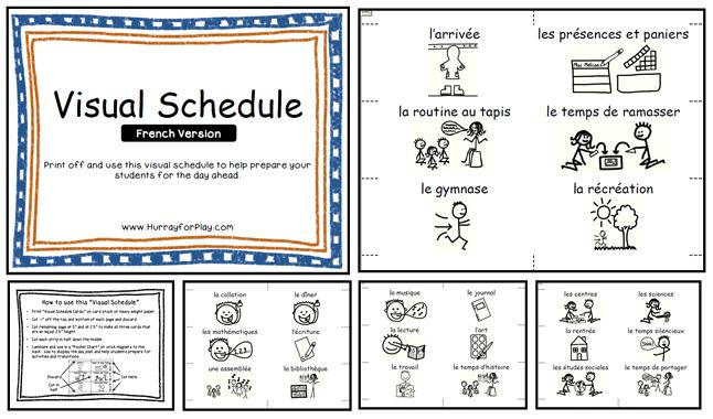 En français!  Print off these 25 different cards to help create a visual schedule for your classroom. Each card includes picture symbols to help young children, non-readers and French Immersion students understand the day ahead.
