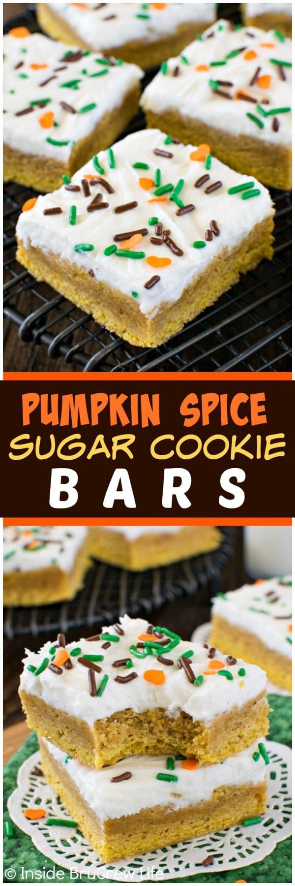 Pumpkin Spice Sugar Cookie Bars - these easy bar cookies have a sweet pumpkin taste and a creamy frosting. Great fall dessert recipe!