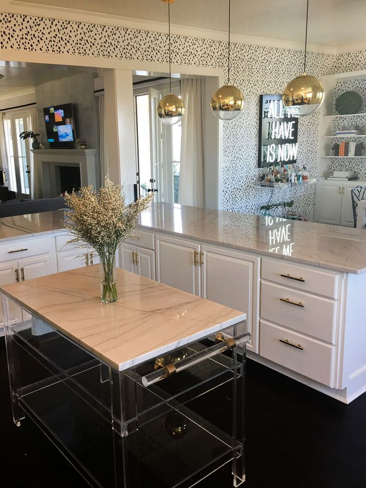 "Katie Kime now offers custom lucite islands. Made with 1/2"" or 1"" lucite and brass or polished steel accents. Custom sizes and designs available. Pricing starts at $2000 and will be quoted depending o"