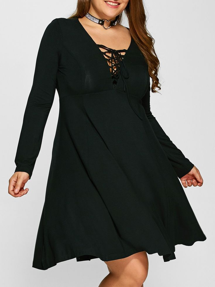 Plus Size Lace-Up Empire Waist Slimming Dress in Black | Sammydress.com