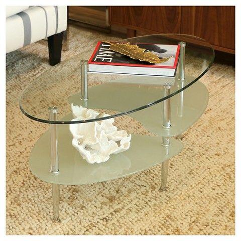 Glass Oval Living Room Metal Coffee Table   Saracina Home
