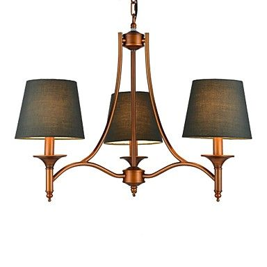 Vintage+Chandelier,+3+Light,+Classic+Fabric+Metal+Painting+–+BRL+R$+519,81