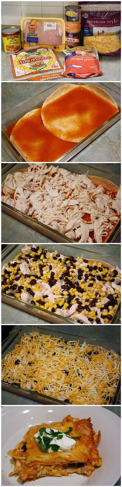 Skinny Chicken Enchilada Casserole  @marylandwright This is the one I'm trying tonight.  Looks idiot proof!