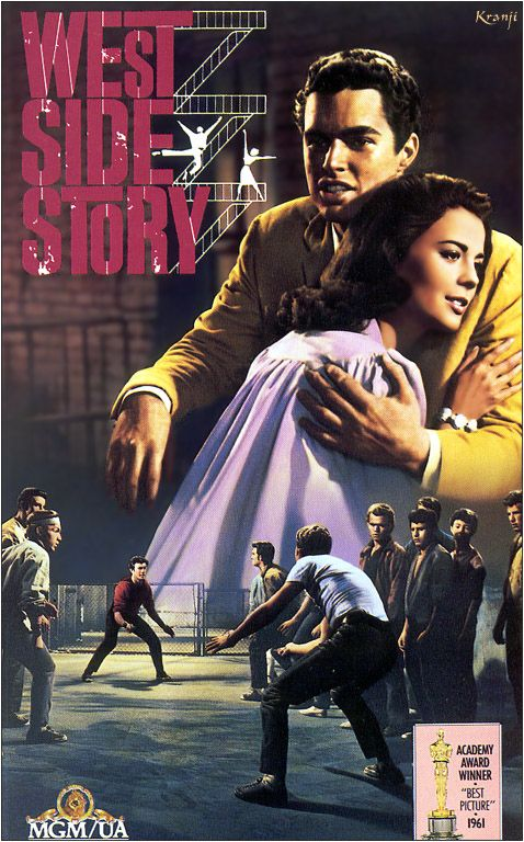 WESTSIDE STORY (1961) Modern-day Romeo & Juliet set in the hoods of New York.  Fabulous choreography!  Starring Natalie Wood, RIchard Beymer, Russ Tamblyn, Rita Moreni, and George Chakiris