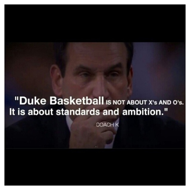 Coach K greatest basketball coach ever! Duke Basketball<--- most things in life should be about standards and ambitions