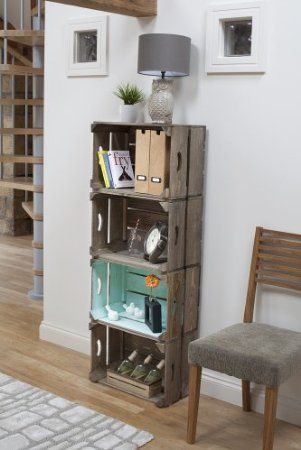 Green Vintage Style Apple Crate Shelving Storage Boxes: Amazon.co.uk: Kitchen & Home