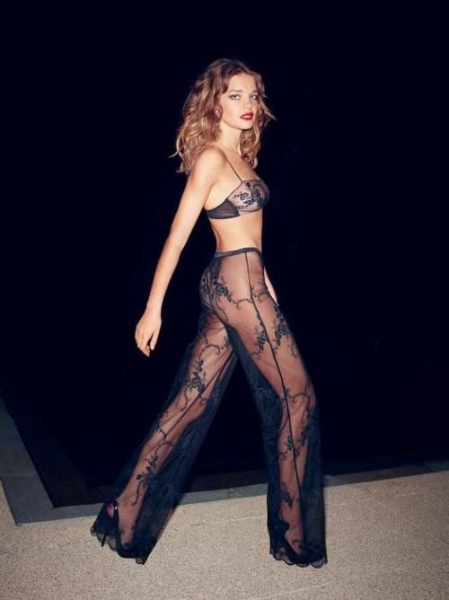 Lace sheer pants. [Natalia Vodianova]
