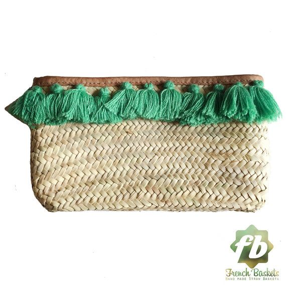 French Baskets clutch bags PomPom necklace green by Frenchbaskets