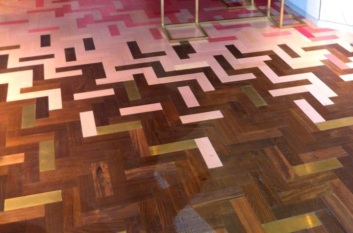 pink chevron hardwood floors in stella mccartney - Google Search