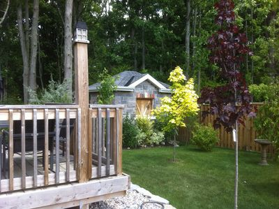 """Shawn, from Kingston describes his garden as, """"Country right here in the 'burbs! Garden shed in full stone and brick , love the trees ."""" #ShowUsYourGarden"""