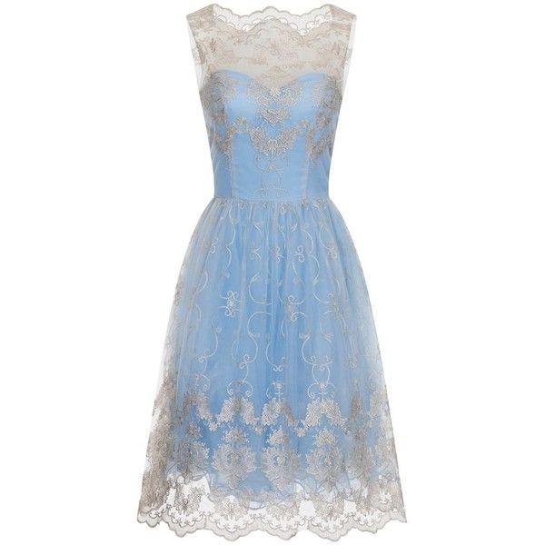 Chi Chi London Metallic High Neck Tea Dress ($77) ❤ liked on Polyvore featuring dresses, abiti, blue, clearance, knee length summer dresses, metallic dress, pastel dresses, sleeveless dress and summer dresses