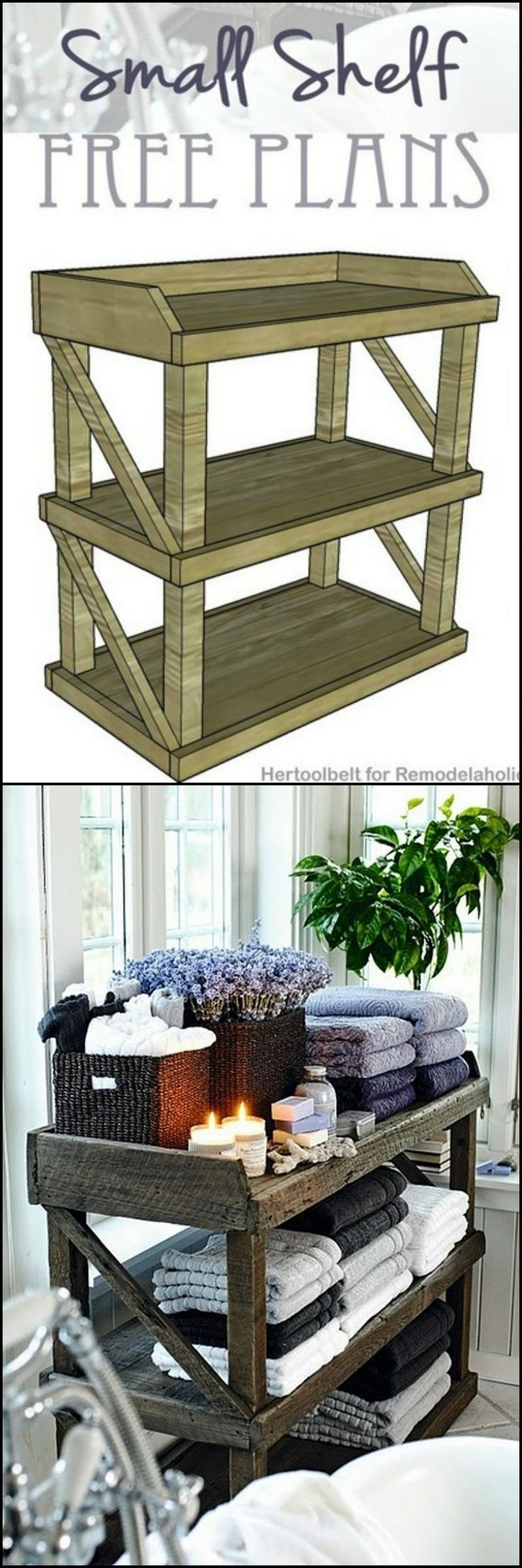 Building Plan: How To Build A Small Open Shelf  http://theownerbuildernetwork.co/easy-diy-projects/diy-storage-projects/diy-shelves-and-bookcases/building-plan-diy-small-open-shelf/  In this project Amy of Hertoolbelt was on the look out for a great bathroom storage solution.  She came across this small rustic tub side storage shelf. We think it's a great find as it has lots of storage space, and it's rustic look is sure to fit in almost any style of bathroom.