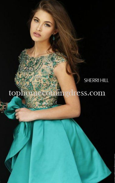 2015 Sherri Hill 32273 V Back Emerald Homecoming Dress