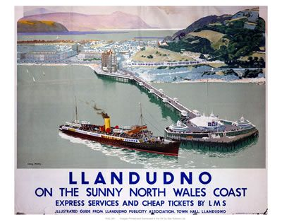 Llandudno- North Wales. Vintage Railway Posters. Buy Here: http://www.vintagerailposters.co.uk/Photo/518-Llandudno-North-Wales#.UuabmhBFCM8