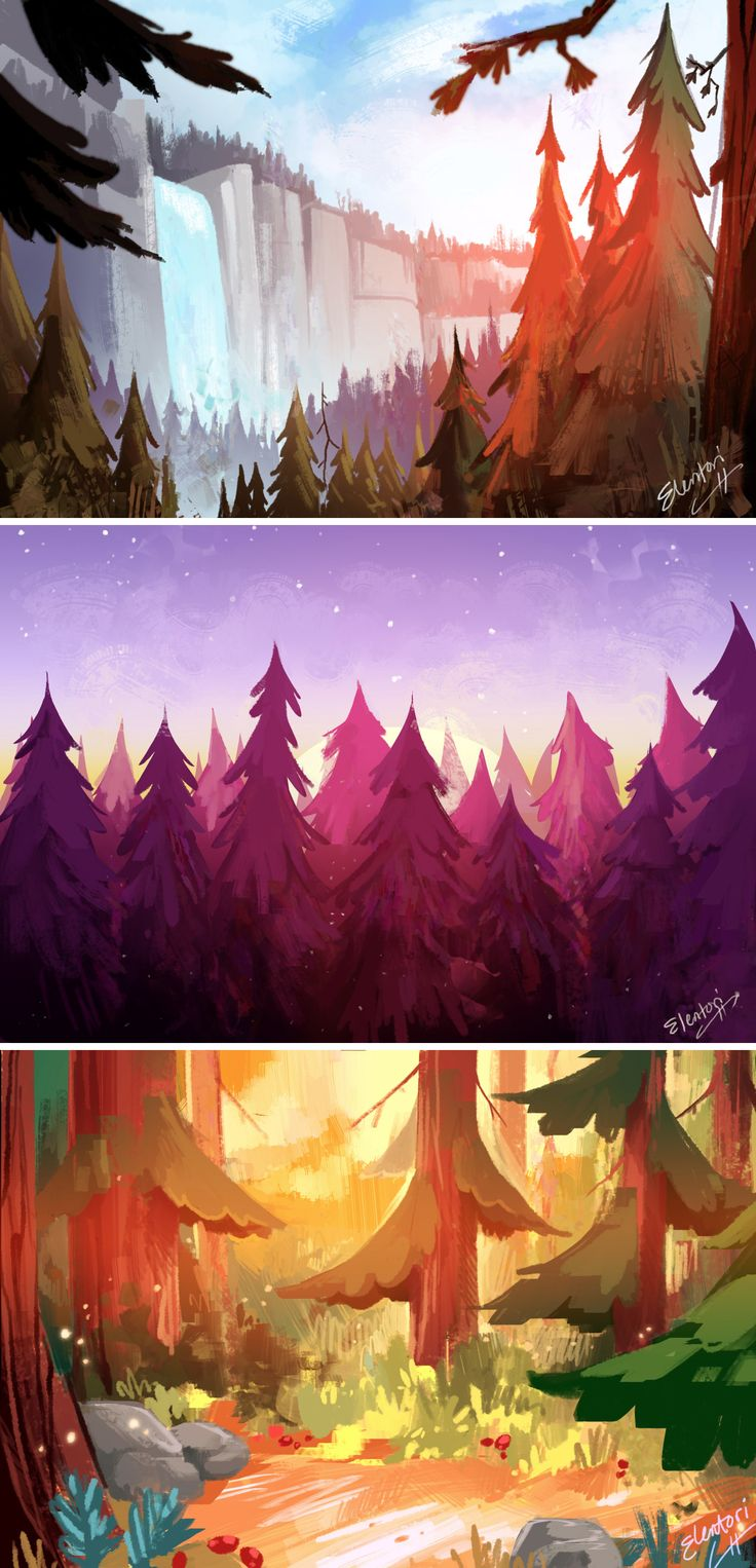The landscape paintings from earlier this week, we'll definitely be doing more soon, I loooove painting landscapes. If there's certain show you'd like to see me paint shoot me a message and I'll add it to the list : )