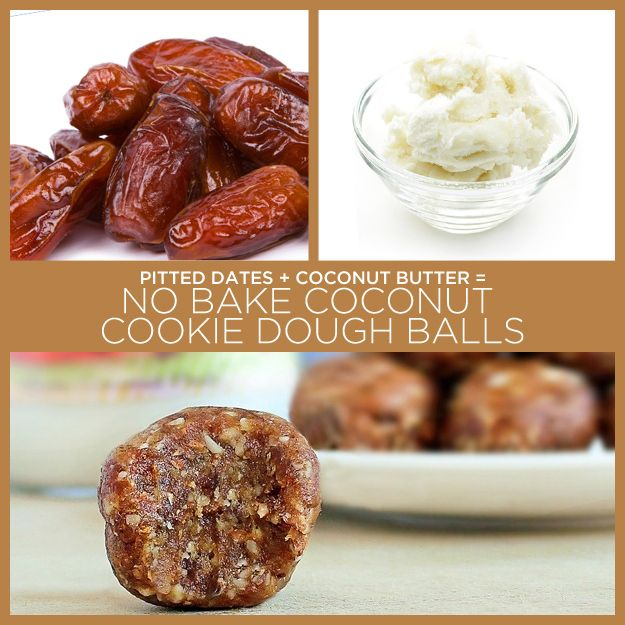 No Bake Coconut Cookie Dough Balls: Scant 2/3 cup pitted dates (80 g) 1 1/2 tbsp coconut butter Pinch of salt, coconut flakes, & chocolate chips optional