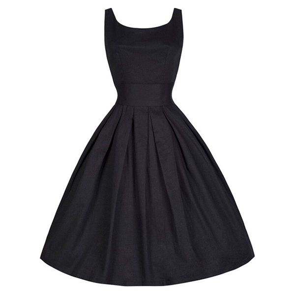 Wholesale Vintage Scoop Collar Sleeveless Solid Color Women's Midi Dress Only $5.59 Drop Shipping   TrendsGal.com