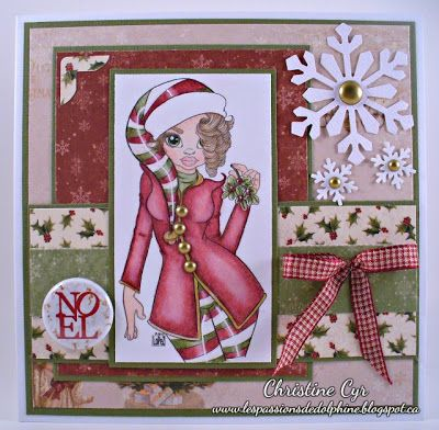 cute as a button stamps/ christmas card