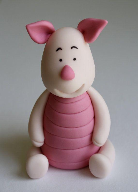 Piglet Winnie the Pooh inspired Fondant Cake/Cupcake by KimSeeEun, $17.00